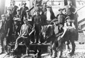 Coalburn miners and pit pony c1920s.